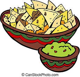 nachos, virutas de la tortilla