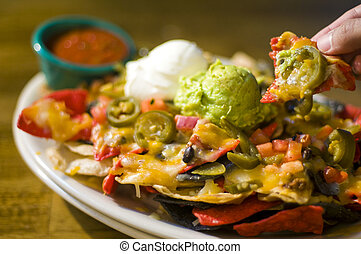 Nachos with cheese and guacamole - Nachos with cheese,...
