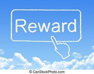 nachricht, belohnung, form, wolke