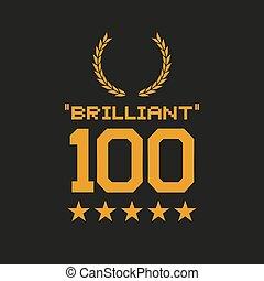 nachricht, brillant, 100