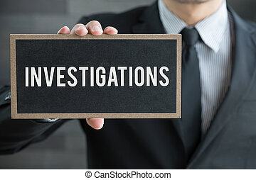 nachricht, halten, investigations, tafel, geschäftsmann
