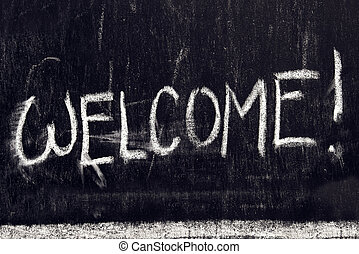nachricht, herzlich willkommen, tafel, handgeschrieben