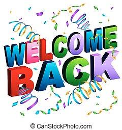 nachricht, herzlich willkommen, zurück