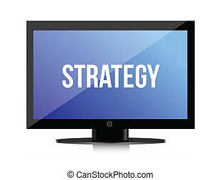 nachricht, monitor, strategie