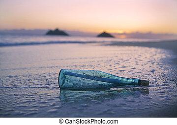 nachricht, sandstrand, flasche