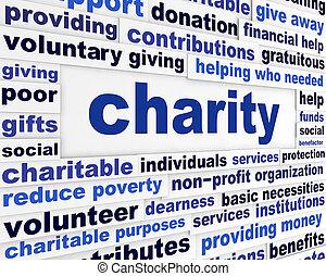 nachricht, wohltätigkeit, herausgeben, sozial