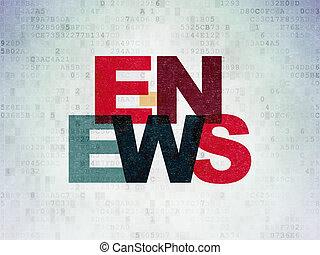 nachrichten, concept:, e-news, auf, digital, papier,...