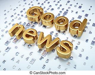 nachrichten, concept:, goldenes, gute nachrichten, auf,...