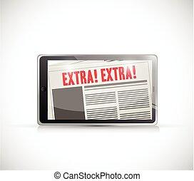 nachrichten, extra, tablette, abbildung, online