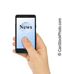 nachrichten, smartphone, hand