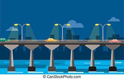 nacht, aanzicht, stad, brug, moderne, illustratie