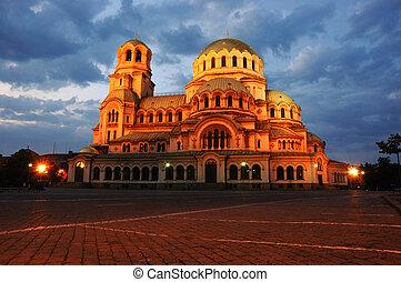 nacht, ansicht, von, alexandr, nevski, kathedrale, in,...