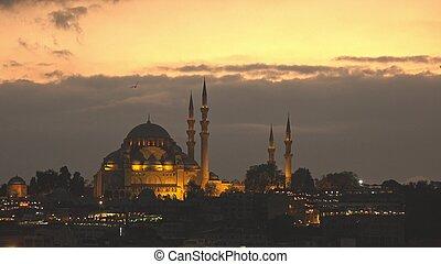 nacht, ansicht, zu, beleuchtung, suleymaniye moschee, auf,...