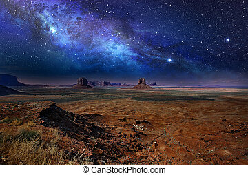 nacht, aus, denkmal, sternenhimmel, tal