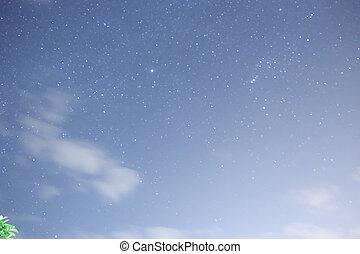nacht, blauer himmel, mit, viele, sternen