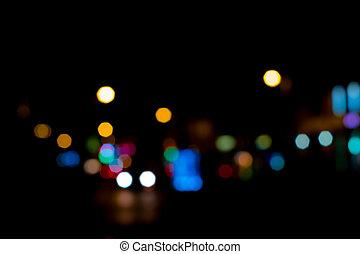 nacht, bokeh, abstract, straat, -, lichten, stad