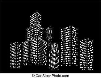 nacht, cityscape.