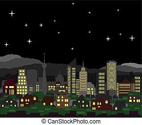 nacht, cityscape, vektor