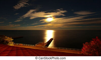 nacht, en, de, zee