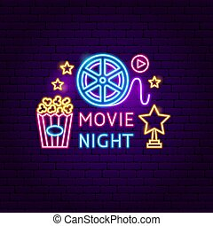 nacht, film, buitenreclame