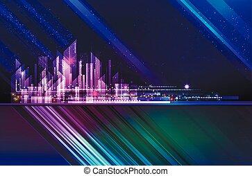 nacht, gebäude, straße, megapolis, downtown., abbildung, wolkenkratzer, erleuchtet, skyline, gebäude stadt, cityscape, architektur