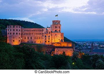 nacht, heidelberg, tijd, gedurende, verlicht, kasteel