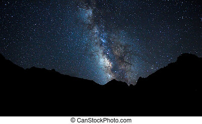 nacht himmel, hell, sternen, und, milchstraße, galaxie