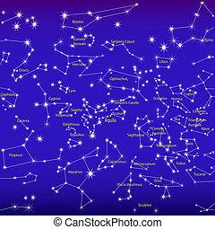 nacht himmel, und, konstellationen, zeichen, tierkreis