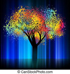 nacht, kleurrijke, boom., eps, 8