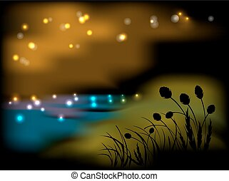 nacht, landscape, met, bloemen, en, gras
