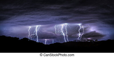 nacht, landscape, met, lightning