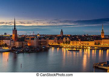 nacht, landschaftlich, sommer, panorama, stockholm, schweden