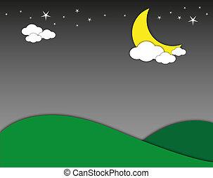 nacht, landschaftsbild, berg, mit, mond