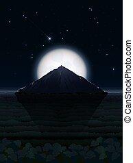 nacht, landschaftsbild, mit, mond, und, berg