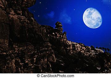 nacht, landschaftsbild, mond