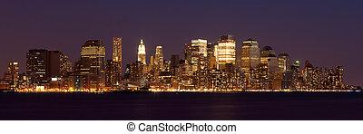 nacht, manhattan, panoramisch, -, aanzicht, skyline, york, ...