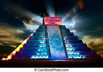 nacht, mayan, piramide, itza, aanzicht, chichen