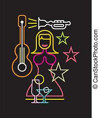 nacht, meldingsbord, club, vector, neon
