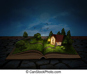 nacht, natuur, magisch, house., night., pagina, boek, grows, weide