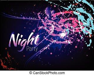 nacht, party, plakat