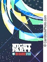 nacht, party, vektor