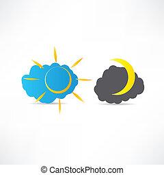 nacht, pictogram, dag
