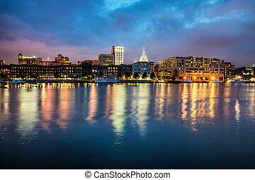 nacht, riverfront, entlang, savanne, stadtzentrum, georgia