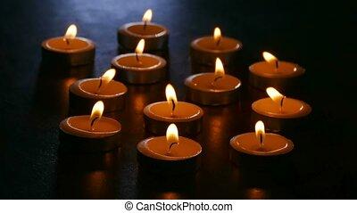 nacht, romantische, vuur, kaarsjes, branden, scented,...