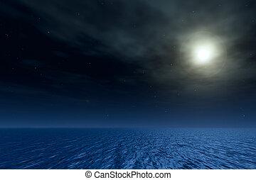 nacht, seascape., magisch, maan, in, ocean.