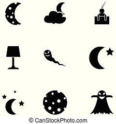 nacht, set, pictogram
