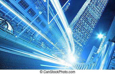 nacht, spoor, achtergrond, moderne, hongkong, architectuur, china., licht