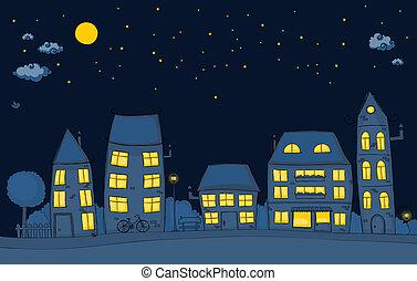 nacht, spotprent, straat