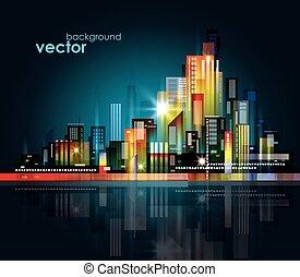 nacht, stadt skyline, vektor, abbildung