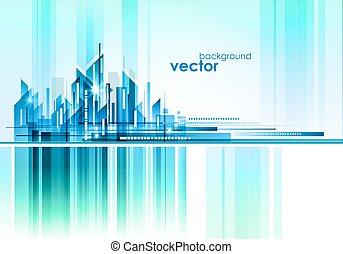 nacht, stadt, vektor, abbildung